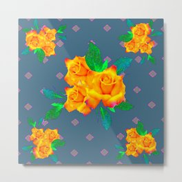 Teal Color Golden Roses Bouquet Patterns Metal Print