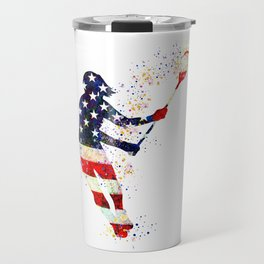 Girl Lacrosse Art American Flag Colorful Watercolor Sports Art Travel Mug