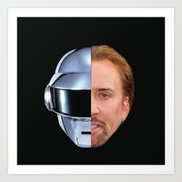 nicolas cage Art Prints featuring Daft Cage by Jared Cady