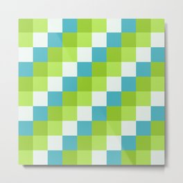 Apples and Pears - Pixelated Pattern with blues and green  Metal Print