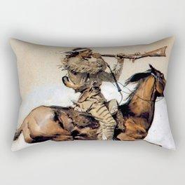 "Frederic Remington ""Buffalo Hunter Spitting Bullets"" Western Art Rectangular Pillow"