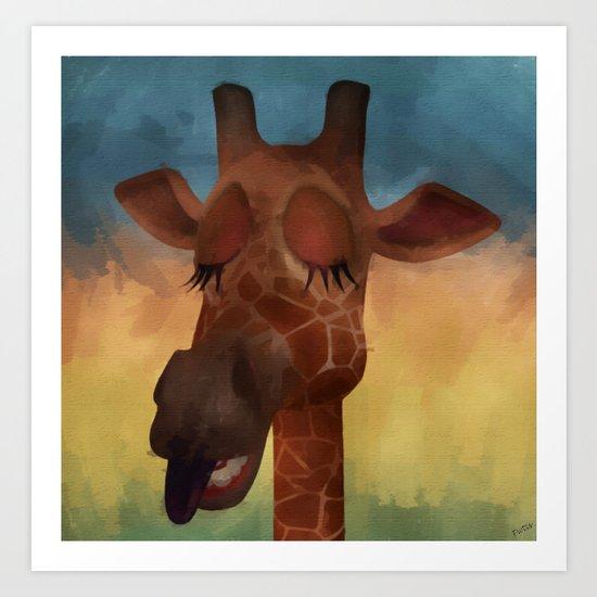 Sleeping Giraffe  Art Print