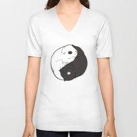 yin yang V-neck T-shirts featuring Yin & Yang by Lili Batista
