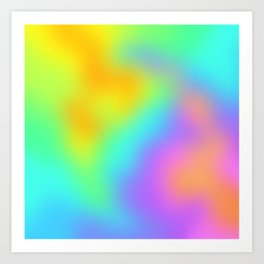 Bright Rainbow Unique Soft Gradient Art Print
