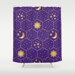 Golden Sun, golden Moon hexagons pattern on violet Shower Curtain