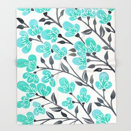 Cherry Blossoms – Turquoise & Black Palette Throw Blanket