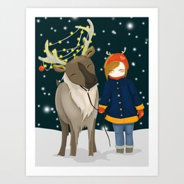 Lotus and her reindeer in the snow Art Print