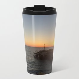 Santa Monica Pier Sunset Metal Travel Mug