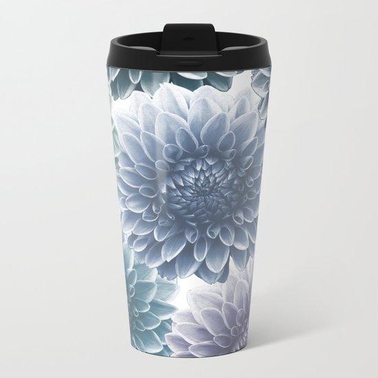 BLUE DAHLIAS Metal Travel Mug