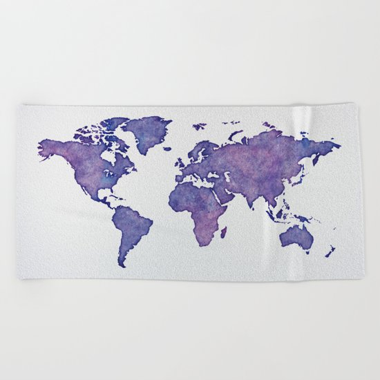 Purple World Map 02 Beach Towel