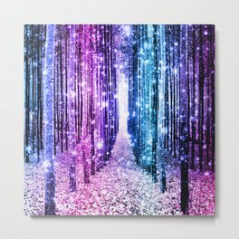 Magical Forest : Aqua Periwinkle Purple Pink Ombre Sparkle Metal Print