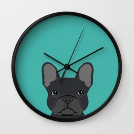 French Bulldog black coat peeking cute frenchie pure breed dog lover gifts Wall Clock