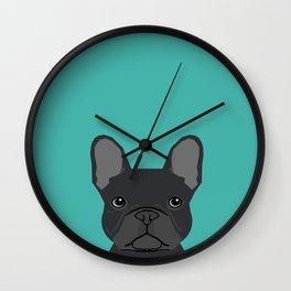 French Bulldog black coat peeking cute frenchie pure breed dog lover gifts Wall Clock