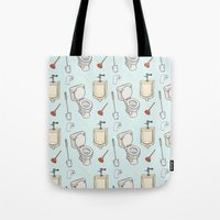 bathroom Tote Bags featuring Bathroom Pattern by Josh LaFayette