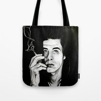 "nick cave Tote Bags featuring Nick Cave ""Loverman"" by Kate Davis"