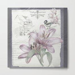 Faded Lily Postcard Metal Print