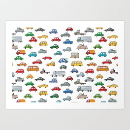 cars illustration, Cartoon car pattern - auto collection Art Print