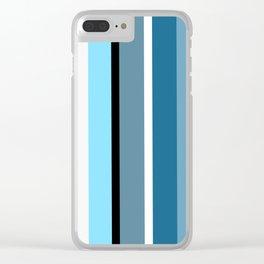 Blue white black stripes pattern Clear iPhone Case