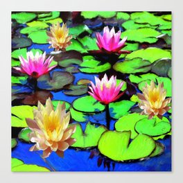 PINK & YELLOW WATER LILIES POND Canvas Print