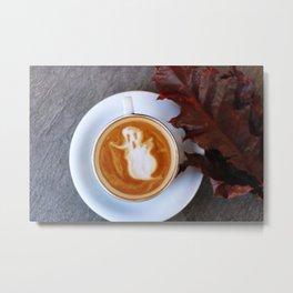 Halloween Ghost Latte Metal Print