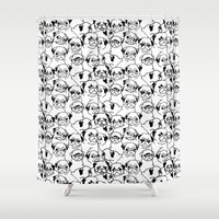 pugs Shower Curtains featuring Oh Pugs by Huebucket