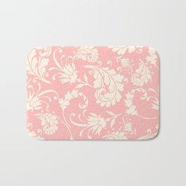 Vintage pink ivory chic floral damask pattern Bath Mat