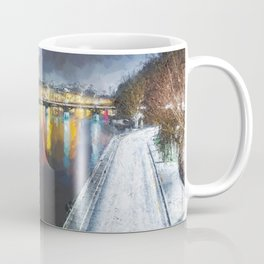 Paris Winter, River Seine city light reflections / Eiffel Tower cityscape landscape painting Coffee Mug
