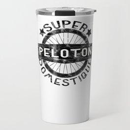 Peloton Super Domestique Retro Bike Bicycling Distressed Travel Mug