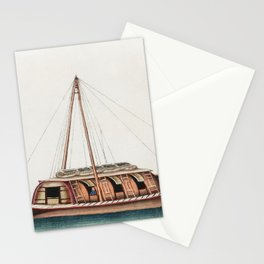 Chinese painting featuring river freight junk (ancient Chinese ship) (ca1800-1899) from the Miriam a Stationery Cards