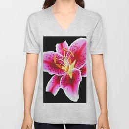 FUCHSIA PINK ASIATIC LILY FLOWER BLACK Unisex V-Neck