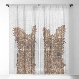 Cute Yorkie Sheer Curtain