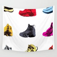 sneakers Wall Tapestries featuring Colorful Sneakers by RickART