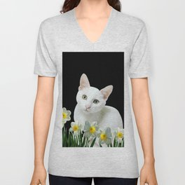 White Cat between Daffodils and Tulips flowers Unisex V-Neck
