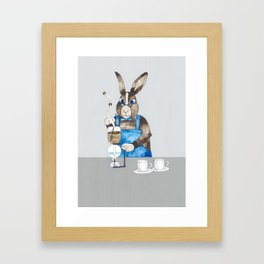 Rabbit brewing coffee with siphon Framed Art Print