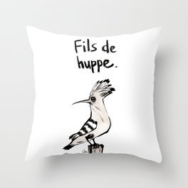 Fils de Huppe Throw Pillow