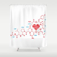 chemistry Shower Curtains featuring The chemistry of love by elvisbr