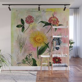 Botanical Study #5, Vintage botanical illustration collage art Wall Mural