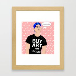 Buy Art, Not Cocaine - Dude with Blue Hair Typography Digital Drawing Framed Art Print