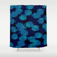 metallic Shower Curtains featuring Metallic Blue by Elena Indolfi