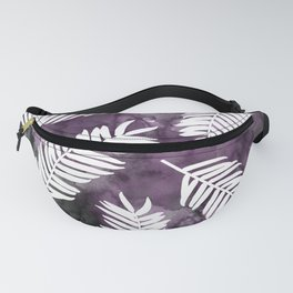 White Palm Leaves  |  Black And Purple Wash Background Fanny Pack