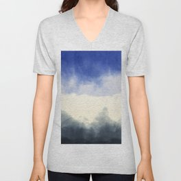 Abstract watercolor navy blue gray ivory ombre Unisex V-Neck