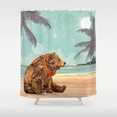 Beach Bear Shower Curtain