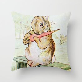Peter Rabbit eating his carrot by Beatrix Potter Throw Pillow