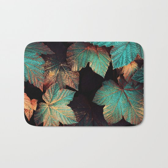 Copper And Teal Leaves Bath Mat