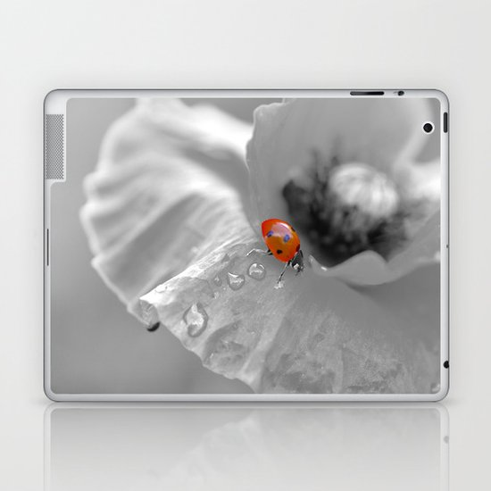 Macro ladybug with water drops on a poppy Laptop & iPad Skin