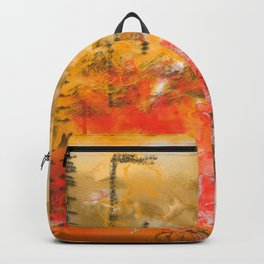 Burning Flames Abstract Art Backpack