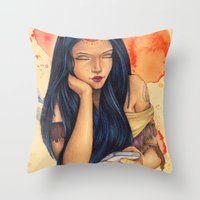 pocahontas Throw Pillows featuring Pocahontas by Bárbara  Kramer