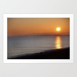 Sunset Over Pevensey Bay.  Art Print