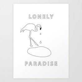 flamingo lonely paradise Art Print