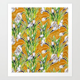 Crocuses, Marygold Yellow an Green Art Print